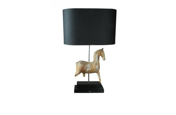 Wooden Horse Table Lamp