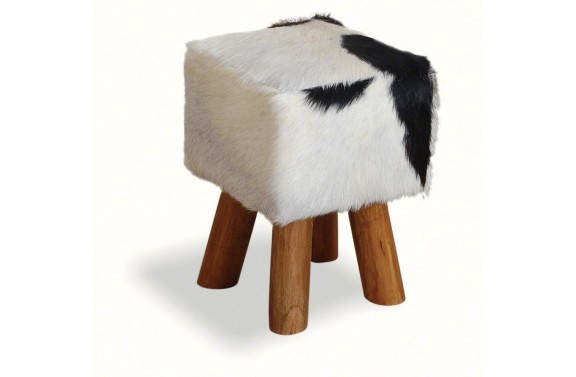Small Square Goatskin Stool