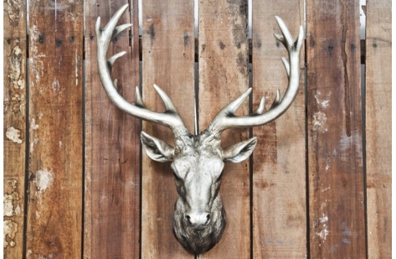 Silver Resin Stag Head