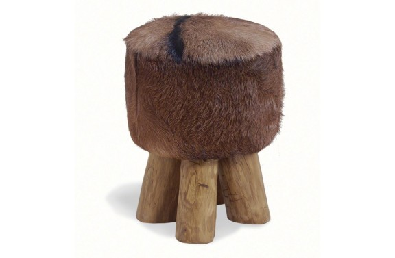 Small Round Goatskin Stool
