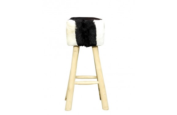 Tall Square High Seat Goatskin Stool