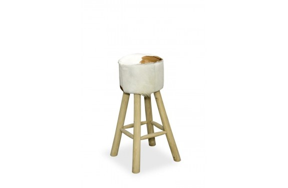Tall High Seat Round Goatskin Stool