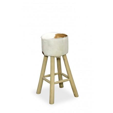 Tall High Seat Round Goatskin Stool