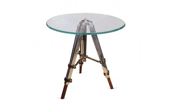 Large Glass Top Tripod Table