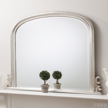 Silver Over Mantel Mirror