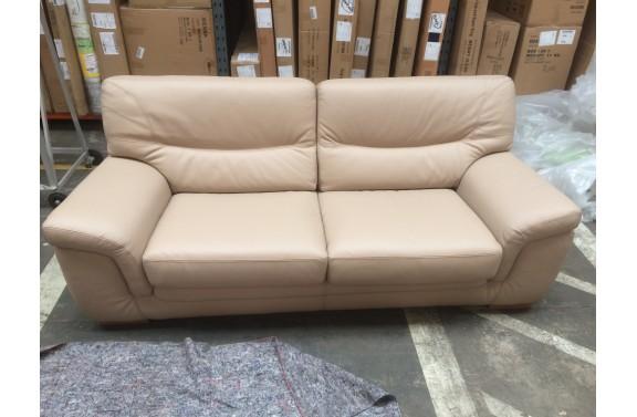 Caramel Faux Leather 3 Seater Sofa