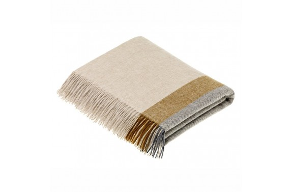 Harley Stripe Gold/Grey Wool Throw