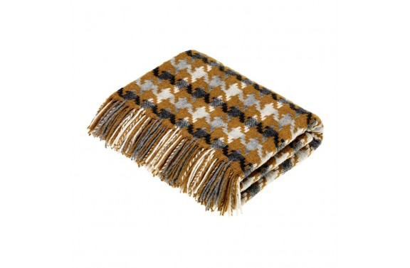 Houndstooth Gold/Grey Wool Throw