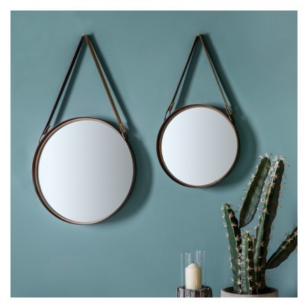 Wall Mirror with Hanging Strap (Set of Two)