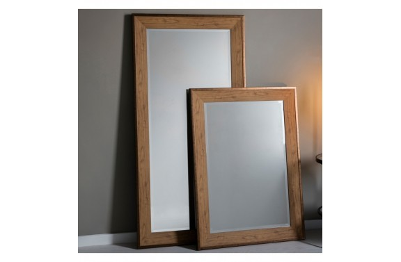 Bronze Framed Oak Rectangular Mirror