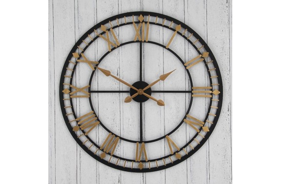 Antique Gold and Black Skeleton Clock