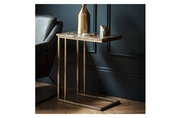 Marble and brushed bronze supper table