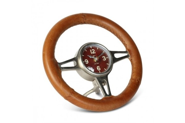 Leather Steering Wheel Desk Clock