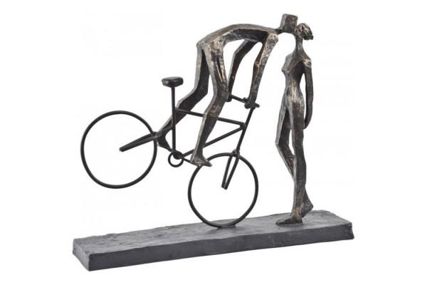 Antique Bronze Kissing Couple On Bike Sculpture