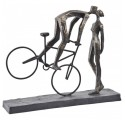 Bronze Kissing Couple On Bike Sculpture