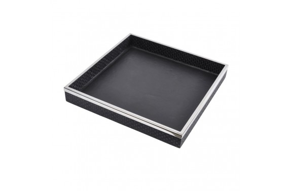 Black Leather & Chrome Tray