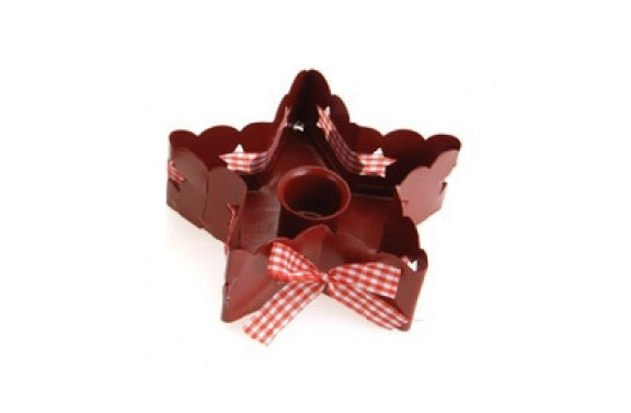 Red Star Shaped Candle Holder