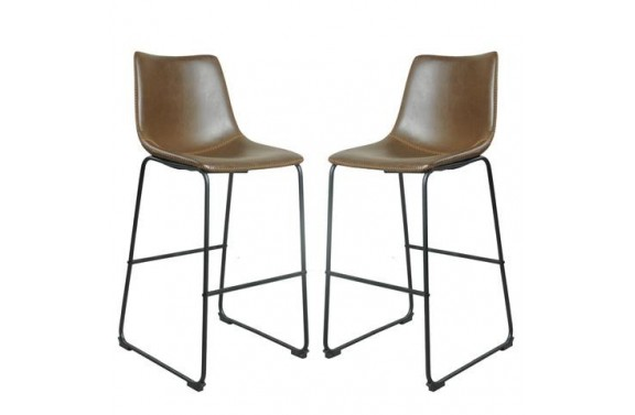 Contrast Stitched Grey Bar Stools - Set Of 2