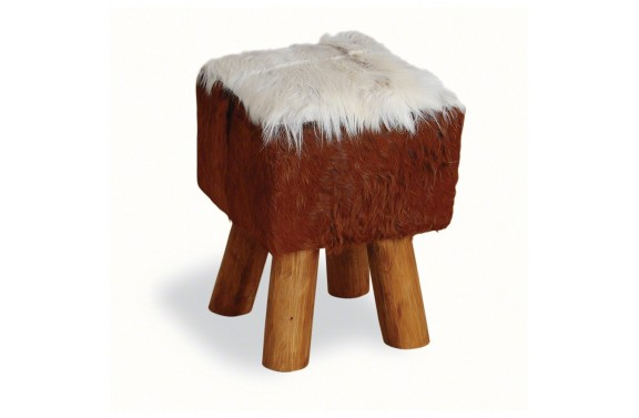 Small Square Goatskin Stool