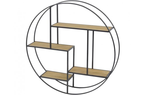 Wooden & Metal Circular Wall Shelf