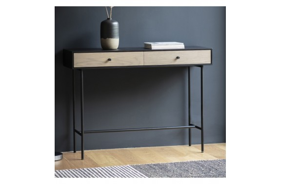 Metal & Weathered Oak 2 Drawer Desk Console
