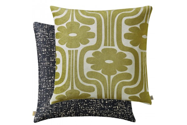 Orla Kiely Climbing Daisy Cushion - Yellow Olive