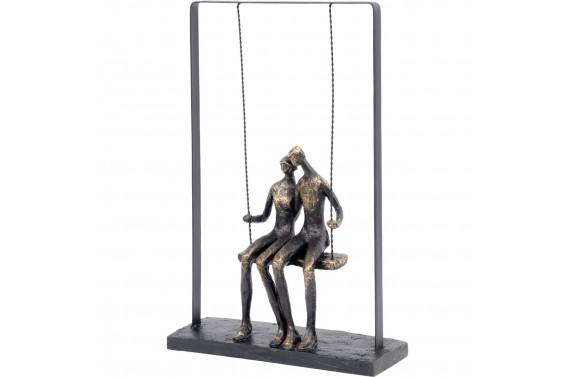 Bronze Couple Sitting On Swing Sculpture