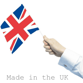 Made in the UK - hand holding Union Jack flag